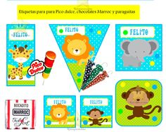 kit imprimible gratis de animales - Buscar con Google Chocolates, Baby Shower Niño, Baby Showers, Jungle Party, Ideas Para, Baby Boy, Kids Rugs, Google, Printables