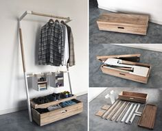 Arara Nômade is a removable closet kit that you can setup and pack away without any tools - quick and elegant closet solution.