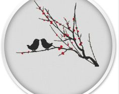 Birds Cross Stitch patterns, Cross stitch PDF, Birds, Cross stitch pattern love, pdf cross stitch.#062