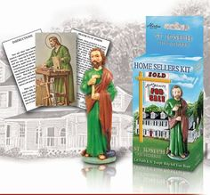 Kit includes a hand painted statue an Italian art St. Joseph prayer card and an instruction sheet for selling your home. St Joseph Prayer, Saint Joseph, Saint Antony, Prayer Cards, Italian Art, Home Buying, Bookends, Saints, Prayers