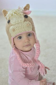 Adorable Pink Crochet Horse Hat by GiftsforGenevieve on Etsy, $24.50