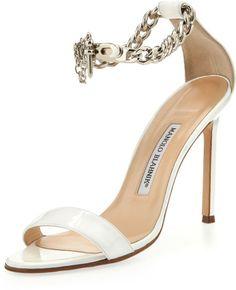 Manolo Blahnik White Chaos Patent Chainwrap Sandal €658 Pre-Spring 2014 #Manolos #Shoes #Heels