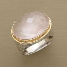 """THEDA RING--A dramatic presentation of rose quartz, the large dome framed in 14kt gold on a hand hammered, sterling silver ring. Tapers 1/2"""" to 3/8""""W. Whole sizes 5 to 9."""