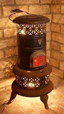 Install lighting inside a vintage kerosene heater for an interesting accent light