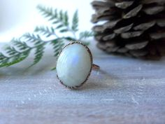 Rainbow Moonstone Ring // Copper by PinealVisionJewelry on Etsy