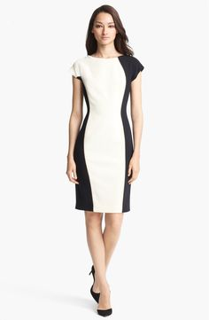Free shipping and returns on ESCADA Bicolor Stretch Wool Dress at Nordstrom.com. Contrasting side panels curve along the shapely silhouette of a sophisticated stretch-wool dress modernized in a fresh black and white palette.