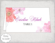 place card template flower garden tent name cards diy escort card printable floral pink red table card you edit word download avery 5302