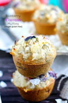 Gluten Free Blueberry Coconut Muffins- PetiteAllergyTreats Hooray for coconut! #glutenfree, #vegan