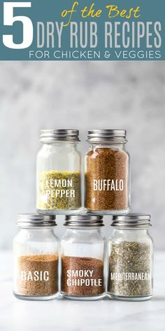 Transform your dinner recipes with five easy flavorful spice blends that only take 5 minutes to make. These chicken spice rubs are absolute perfect to mix up flavors for the week! Homemade Spice Blends, Homemade Spices, Homemade Seasonings, Best Dry Rub Recipe, Dry Rub Recipes, Chicken Spices, Chicken Seasoning, Chicken Recipes, Chicken Marinades