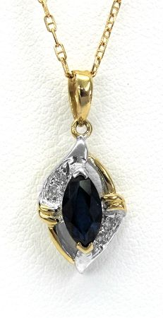 Ladies 14kt yellow gold gemstone and diamond pendant. Mounted in pendant is a marquise cut blue sapphire and 4 brilliant round cut diamonds weighing a total of approximately .02ct. Pendant comes with a 18 inch yellow gold chain.