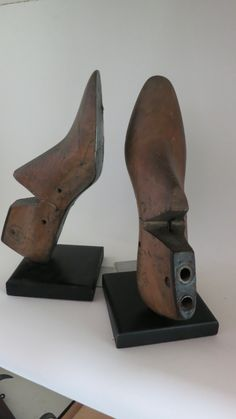 $89 via http://www.smallholdingsfarm.com/shop/antiqu-shoe-molds/ Antique Shoe Molds made into bookends.  They are made of solid wood with metal soles…a right and left shoe in size 9B and marked Salem Cast Remodeling 10-68.  They have been mounted on wooden blocks with metal slides. Their quirky charm will add an element of surprise to your home.  Measure 12″ tall.  Free Shipping
