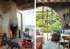 In the outdoor scene on the left, a wooden ceiling adds rustic warmth while a bright red table brings in color. On the right, vintage armchairs, wall decor, and stone tiles create a relaxed ambiance. Mediterranean Design, Round Chair, Wooden Ceilings, Table And Chairs, Tables, Tuscan Style, Rustic Table, Wall Decor, House Design