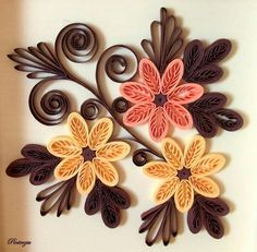 Quilled Flowers & Leaves - love the colours and the technique used