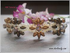 Double Golden Superduo Montee Flower Bracelet