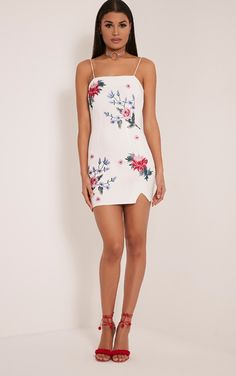 Deana White Floral Embroidered Strappy Mini Dress Image 6