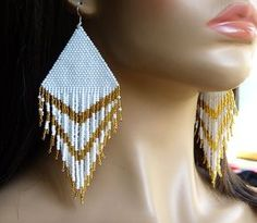 Gold White Earrings. Very Large Earrings. Native American Beaded Earrings Inspired. Dangle Long Earrings. Beadwork