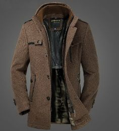 //Mens //Extra //Thick //Slim //Fleece //Wool //Blazer //Dual //Standup //Collar //Coat //Winter //Jacket //Graceful //Grey //BrownCN079 //Fabric //Colors //Grey //Brown