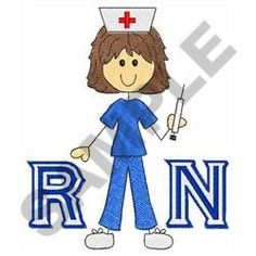 Great Notions Embroidery Design: REGISTERED NURSE 3.72 inches H x 3.22 inches W