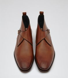 Mens Dark Brown Single Monk Strap Boots - Reiss Guerino
