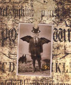 Vintage Halloween Tags Bat Boy