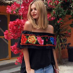New 2014 summer women girl off the shoulder slash neck vintage rose embroidery blouse black cotton casual sexy blouses lace tops
