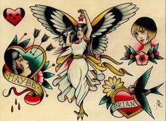 flash 9 by brian kelly angel hearts swallow tattoo designs canvas fine art print woman traditional-tattoo-flash new-age phoenix-tattoo alternative-artwork Traditional Tattoo Canvas, Traditional Tattoo Flash Art, Traditional Tattoos, Flash Art Tattoos, Swallow Tattoo Design, Tattoo Swallow, Egyptian Artwork, Greek And Roman Mythology, Tatuagem Old School