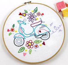 Retro Scooter Embroidery Pattern