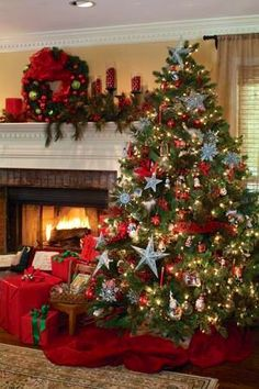 Decorated Christmas tree & fireplace mantle