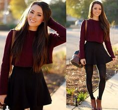This outfit consisting of a Burgundy Crop Top, A black Skirt and brown boots is perfect for the autumn! Fashion Mode, Look Fashion, Teen Fashion, Autumn Fashion, Fashion Outfits, Burgundy Fashion, Fashion Clothes, Disney Fashion, Fashion Advice