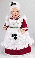 free vintage crochet pattern for Mrs. Santa air freshener doll from Grandmother Wren's pattern books Knitted Dolls, Crochet Dolls, Crochet Yarn, Crochet Clothes, Crochet Christmas Ornaments, Christmas Knitting Patterns, Holiday Crochet, Crochet Crafts, Crochet Projects