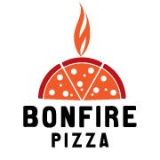 conceptual logo. pizza slices stand in for wood.
