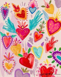 Wallpaper Tutorial and Ideas Cute Wallpapers, Wallpaper Backgrounds, Iphone Wallpaper, Art Aquarelle, Mexican Art, Heart Art, Pattern Wallpaper, Oeuvre D'art, Art Inspo