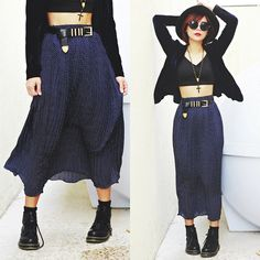 Get this look: http://lb.nu/look/7189802  More looks by Bernadette F: http://lb.nu/borntobotheryou  Items in this look:  Younghungryfree Skirt, Fashion71 Bootes   #gothic #grunge #punk