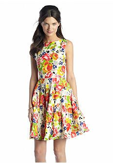 Betsey Johnson Sleeveless Floral Fit and Flare Dress