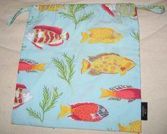 "Jim Thompson Fish Beach Sea Print Multi-Color Drawstring Cotton Pouch Bag 8x8.7"" #JimThompson"