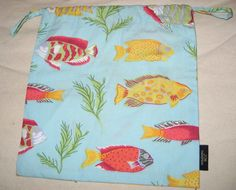 "Jim Thompson Fish Beach Sea Print Multi-Color Drawstring Cotton Pouch Bag 8x8.7"" #JimThompson"