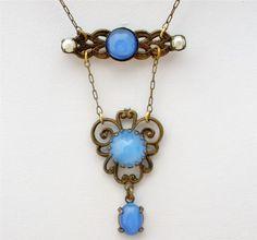 Antique Czech Glass Lavalier Necklace Gold Filled Pearl Blue Prong SET ART Deco | eBay