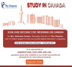 Upcoming Interactive #Webinar on #studyincanada Register Now: https://attendee.gotowebinar.com/register/8633708710632248577 The Canada Webinar will cover: • Overview of the education system • Why Canada is an attractive destination for students • Current market dynamics • Emerging sectors and skill shortages • The increasing scale of opportunities • Avenues to capitalize on the growing opportunity base Limited FREE Seats!