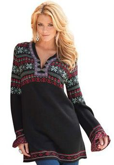 Plus Size Fair Isle Tunic Sweater image