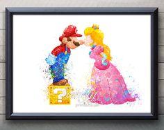 Mario and Princess Peach Super Mario Brothers Watercolor Poster,  Watercolor Painting, Watercolor Art, Home Decor,Kids Decor - Nursery Decor
