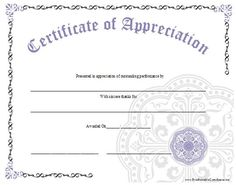 Nice editable certificate of appreciation template example with an ornate certificate of appreciation with a large lavender graphic free to download and print yelopaper Image collections