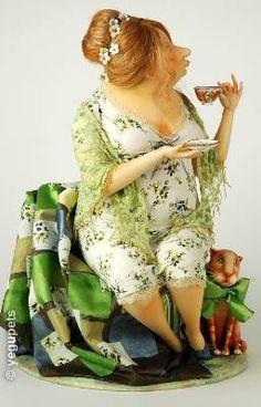 Green tea,  art doll by artist Olga E. Egupets
