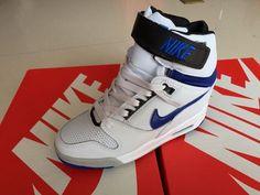 popular Nike Air Revolution Sky Hi Womens White and Cobalt Blue Black 2015 shoes