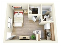 One Bedroom Apartment Designs 20 Square Meters Studio Apartment  Small Aptinterior Design