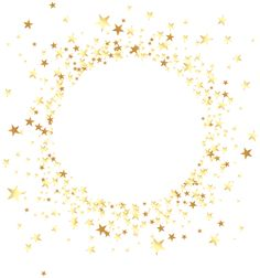 Decorative Round Element with Stars Transparent Clip Art