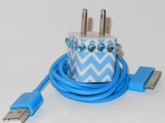 Blue Chevron iPhone Charger Decorated with Personality  (Charger Adapter works with all versions of the iPhone) $22.00