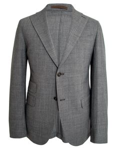 "Eleventy Grey Mélange Suit 	2 button jacket 	Notch lapel 	Pick stitch detailing 	Front left chest pocket 	Flap pockets 	Ticket pocket 	Partially lined 	Double vent 	Flat front pant: 	 		Zip fly 		Two button with hook and bar close 		Single welt back pockets 		Coin pocket 		10.5"" rise 		7"" hem opening 	 	 	52% micro fiber, 44% wool, 4% elastane 	Made in Italy"