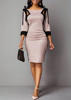 Dress zipper - Back Zipper Tie Shoulder Three Quarter Sleeve Dress – Dress zipper Tie Dress, Dress Backs, African Fashion Dresses, Fashion Outfits, Fashion Goth, Dress Fashion, Biker Outfits, Rave Outfits, Latex Fashion