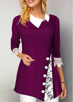 Stylish Tops For Girls, Trendy Tops, Trendy Fashion Tops, Trendy Tops For Women Purple Contrast Collar Lace Trim Tunic Top Button Detail Turndown Collar Lace Panel T Shirt Trendy Tops For Women, Stylish Tops For Girls, Look Fashion, Womens Fashion, Trendy Fashion, Blouse Designs, Collar Designs, Fashion Dresses, Fashion Clothes