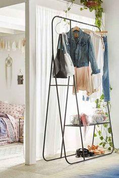my tiny bungalow // stand-alone closet alternatives Minimalist Furniture, Minimalist Home Decor, Minimalist Bedroom, Minimalist Clothing, Minimalist Shoes, Minimalist Living, Lit Convertible Ikea, Stand Alone Closet, Closet Alternatives